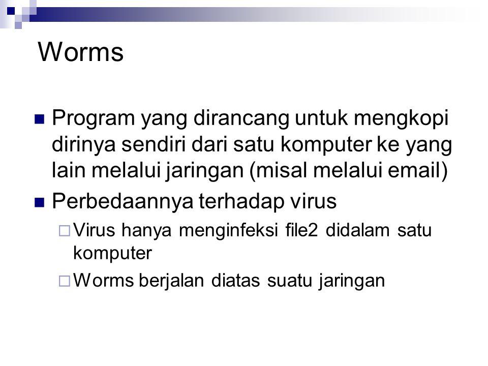 Worms Program yang dirancang untuk mengkopi dirinya sendiri dari satu komputer ke yang lain melalui jaringan (misal melalui email) Perbedaannya terhad
