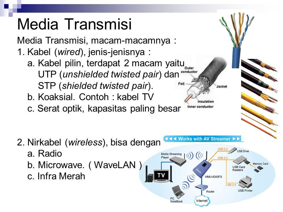 Media Transmisi Media Transmisi, macam-macamnya : 1. Kabel (wired), jenis-jenisnya : a. Kabel pilin, terdapat 2 macam yaitu UTP (unshielded twisted pa
