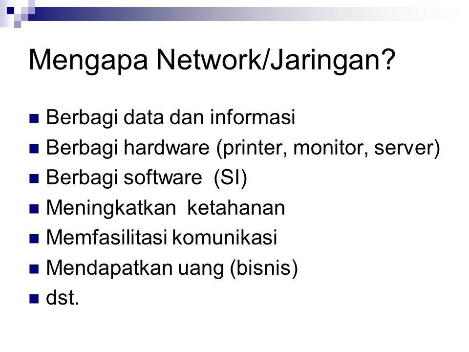 Mengapa Network/Jaringan? Berbagi data dan informasi Berbagi hardware (printer, monitor, server) Berbagi software (SI) Meningkatkan ketahanan Memfasil