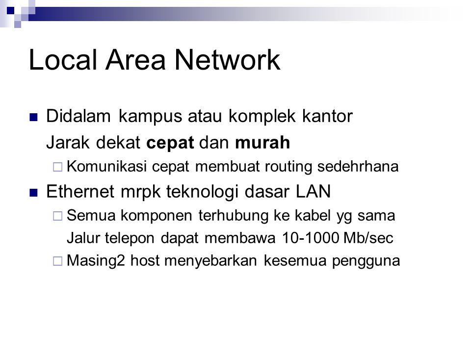 Local Area Network Didalam kampus atau komplek kantor Jarak dekat cepat dan murah  Komunikasi cepat membuat routing sedehrhana Ethernet mrpk teknolog
