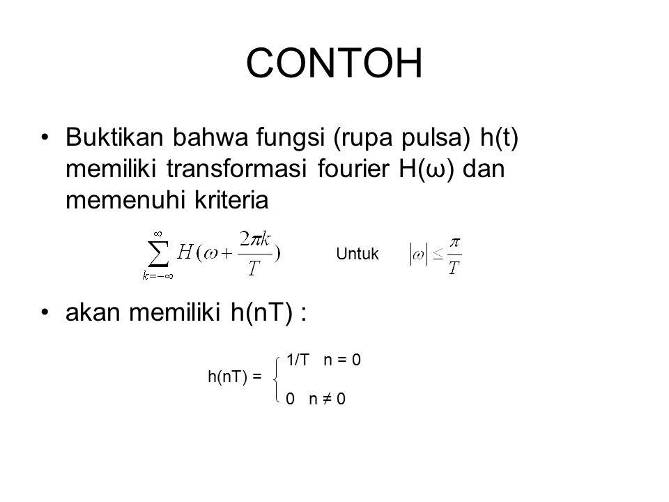 CONTOH Buktikan bahwa fungsi (rupa pulsa) h(t) memiliki transformasi fourier H(ω) dan memenuhi kriteria akan memiliki h(nT) : Untuk h(nT) = 1/T n = 0