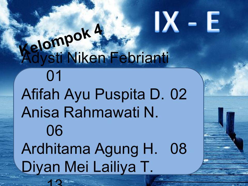 Kelompok 4 Adysti Niken Febrianti 01 Afifah Ayu Puspita D.02 Anisa Rahmawati N. 06 Ardhitama Agung H. 08 Diyan Mei Lailiya T. 13