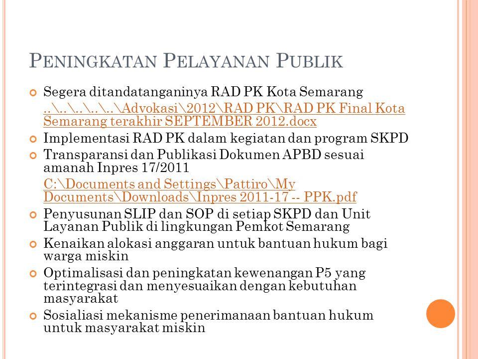 P ENINGKATAN P ELAYANAN P UBLIK Segera ditandatanganinya RAD PK Kota Semarang..\..\..\..\..\Advokasi\2012\RAD PK\RAD PK Final Kota Semarang terakhir S