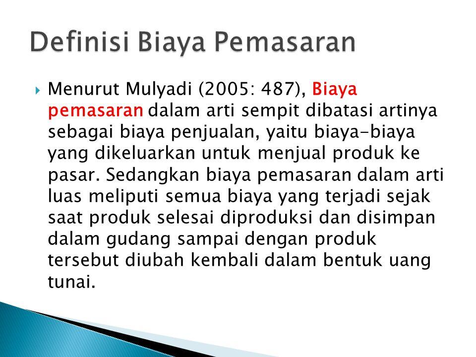  Menurut Mulyadi (2005: 487), Biaya pemasaran dalam arti sempit dibatasi artinya sebagai biaya penjualan, yaitu biaya-biaya yang dikeluarkan untuk me