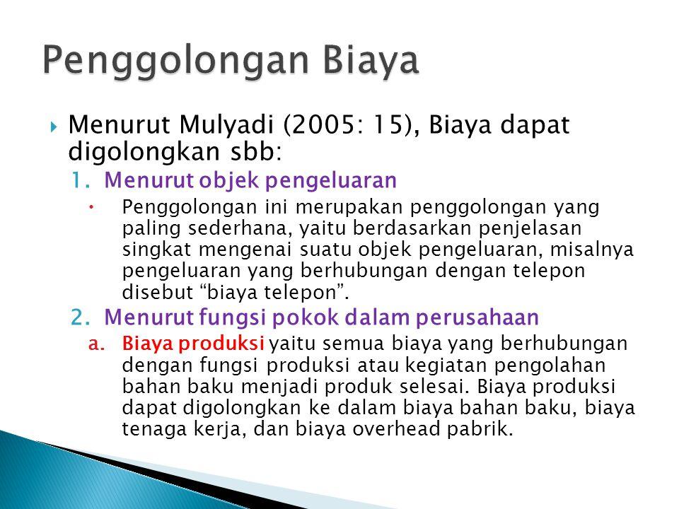 Menurut Mulyadi (2005: 15), Biaya dapat digolongkan sbb: 1.Menurut objek pengeluaran  Penggolongan ini merupakan penggolongan yang paling sederhana