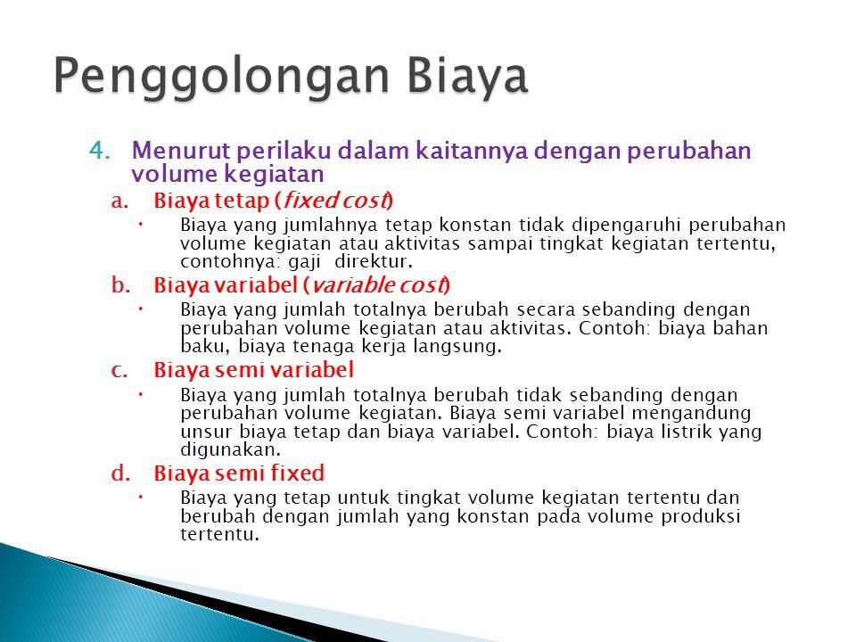 4.Menurut perilaku dalam kaitannya dengan perubahan volume kegiatan a.Biaya tetap (fixed cost)  Biaya yang jumlahnya tetap konstan tidak dipengaruhi