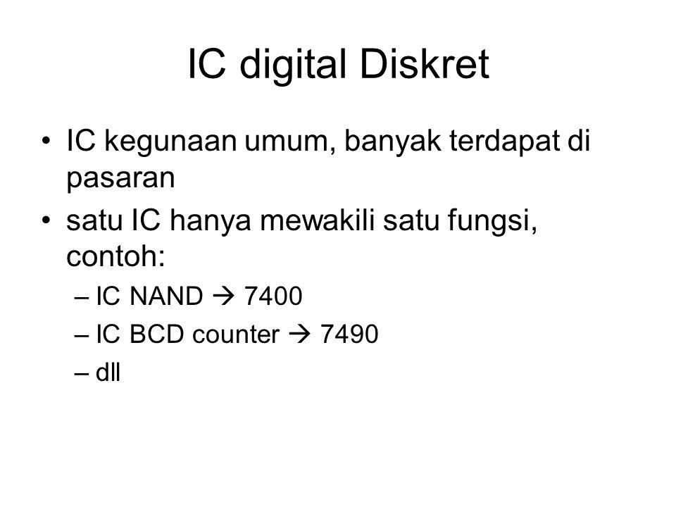 IC digital Diskret IC kegunaan umum, banyak terdapat di pasaran satu IC hanya mewakili satu fungsi, contoh: –IC NAND  7400 –IC BCD counter  7490 –dl