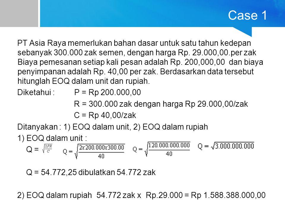 Case 1 PT Asia Raya memerlukan bahan dasar untuk satu tahun kedepan sebanyak 300.000 zak semen, dengan harga Rp. 29.000,00.per zak Biaya pemesanan set