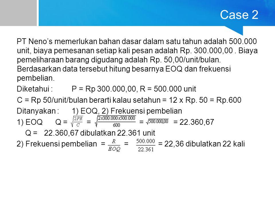 Case 2 PT Neno's memerlukan bahan dasar dalam satu tahun adalah 500.000 unit, biaya pemesanan setiap kali pesan adalah Rp. 300.000,00. Biaya pemelihar