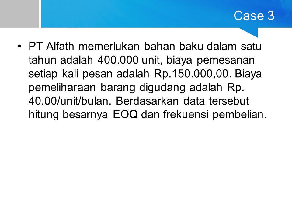 Case 3 PT Alfath memerlukan bahan baku dalam satu tahun adalah 400.000 unit, biaya pemesanan setiap kali pesan adalah Rp.150.000,00. Biaya pemeliharaa