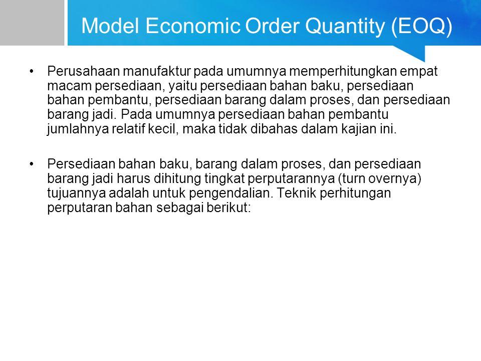 Model Economic Order Quantity (EOQ) Perusahaan manufaktur pada umumnya memperhitungkan empat macam persediaan, yaitu persediaan bahan baku, persediaan
