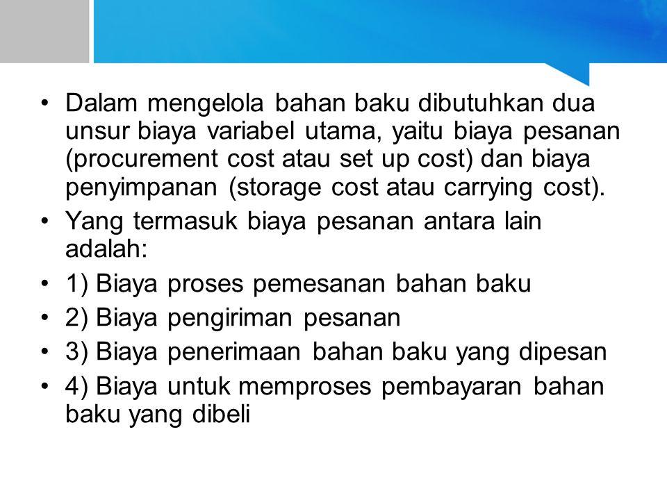 Dalam mengelola bahan baku dibutuhkan dua unsur biaya variabel utama, yaitu biaya pesanan (procurement cost atau set up cost) dan biaya penyimpanan (s