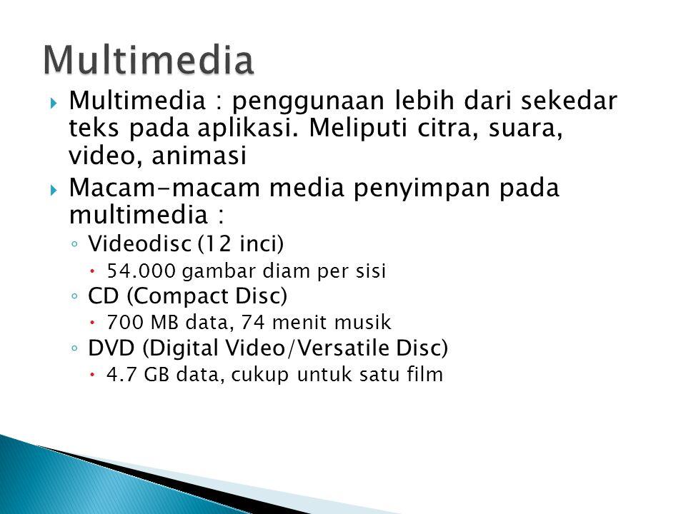  Multimedia : penggunaan lebih dari sekedar teks pada aplikasi. Meliputi citra, suara, video, animasi  Macam-macam media penyimpan pada multimedia :