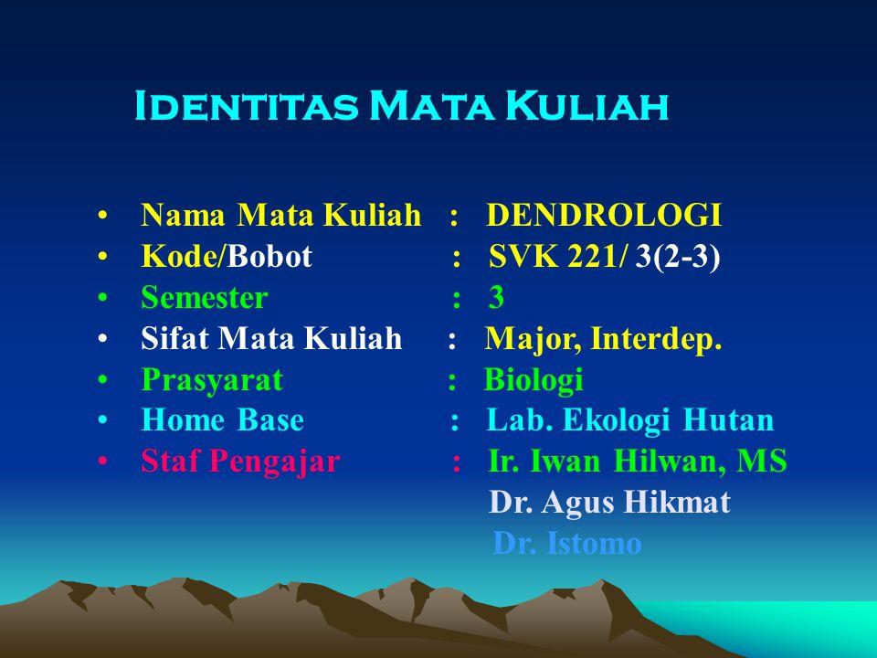 Identitas Mata Kuliah Nama Mata Kuliah : DENDROLOGI Kode/Bobot : SVK 221/ 3(2-3) Semester : 3 Sifat Mata Kuliah : Major, Interdep.