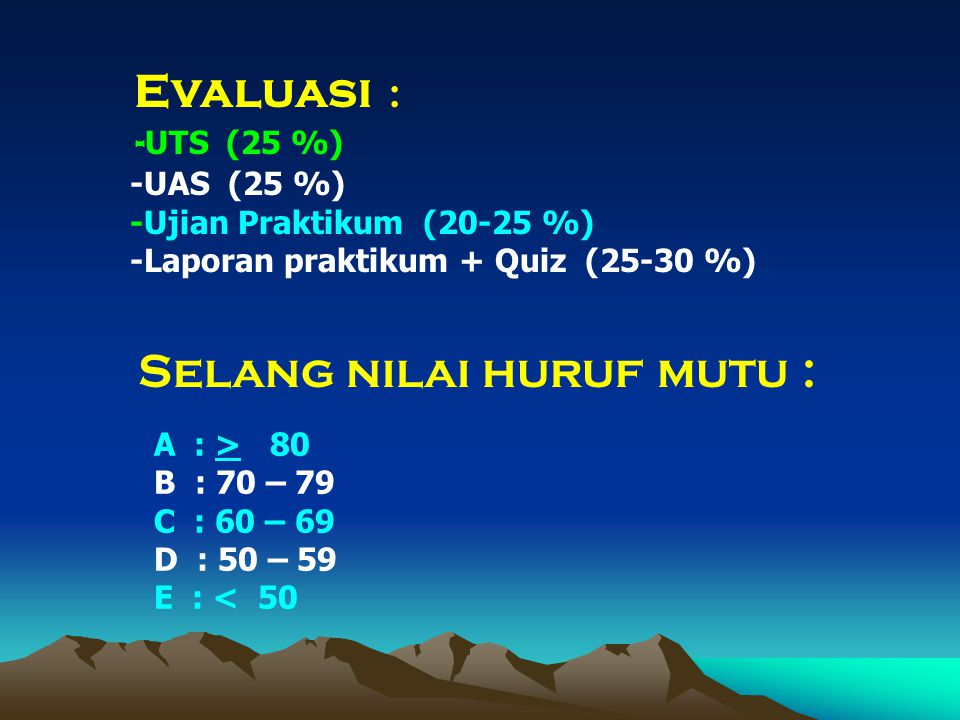 Evaluasi : - UTS (25 %) -UAS (25 %) -Ujian Praktikum (20-25 %) -Laporan praktikum + Quiz (25-30 %) Selang nilai huruf mutu : A : > 80 B : 70 – 79 C : 60 – 69 D : 50 – 59 E : < 50