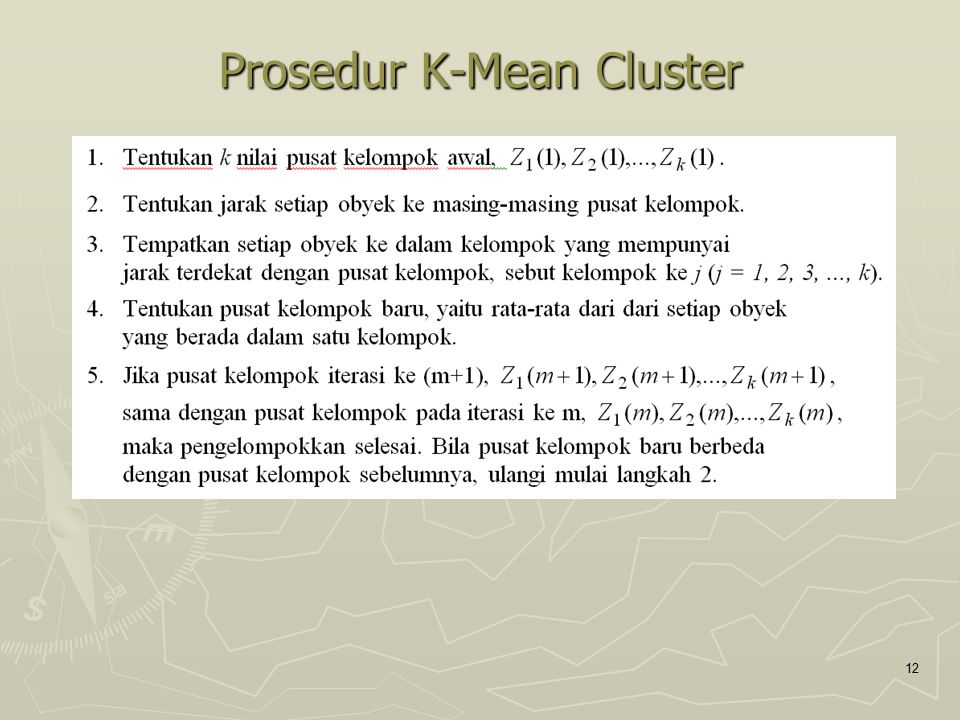 Prosedur K-Mean Cluster 12