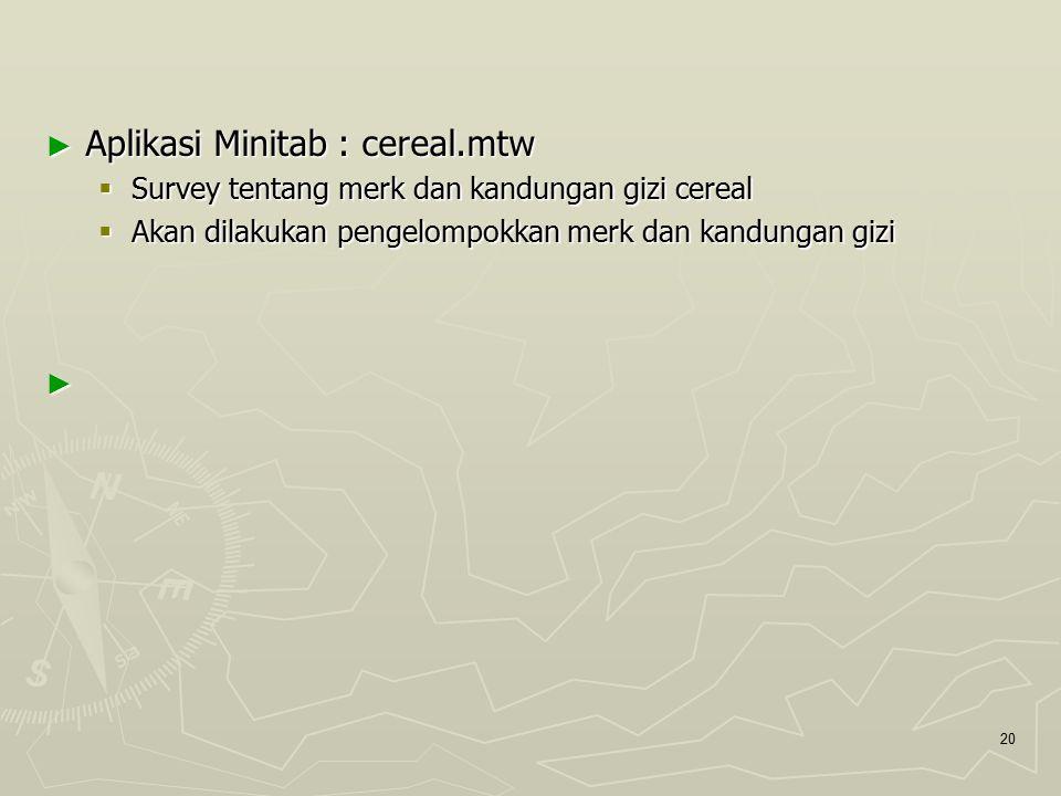 ► Aplikasi Minitab : cereal.mtw  Survey tentang merk dan kandungan gizi cereal  Akan dilakukan pengelompokkan merk dan kandungan gizi ► 20