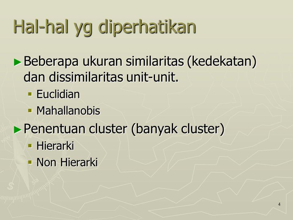 4 Hal-hal yg diperhatikan ► Beberapa ukuran similaritas (kedekatan) dan dissimilaritas unit-unit.  Euclidian  Mahallanobis ► Penentuan cluster (bany