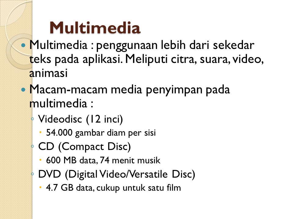 Multimedia Multimedia : penggunaan lebih dari sekedar teks pada aplikasi. Meliputi citra, suara, video, animasi Macam-macam media penyimpan pada multi