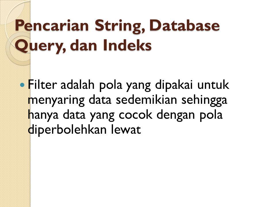 Pencarian String, Database Query, dan Indeks Filter adalah pola yang dipakai untuk menyaring data sedemikian sehingga hanya data yang cocok dengan pol