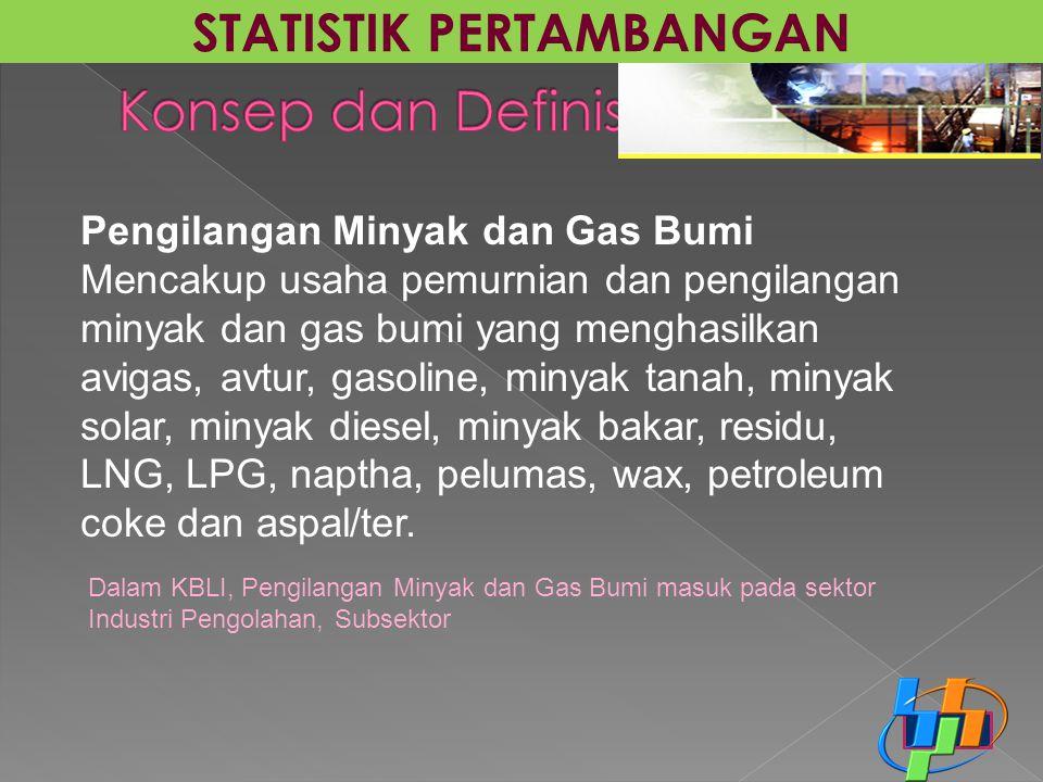 Pengilangan Minyak dan Gas Bumi Mencakup usaha pemurnian dan pengilangan minyak dan gas bumi yang menghasilkan avigas, avtur, gasoline, minyak tanah,