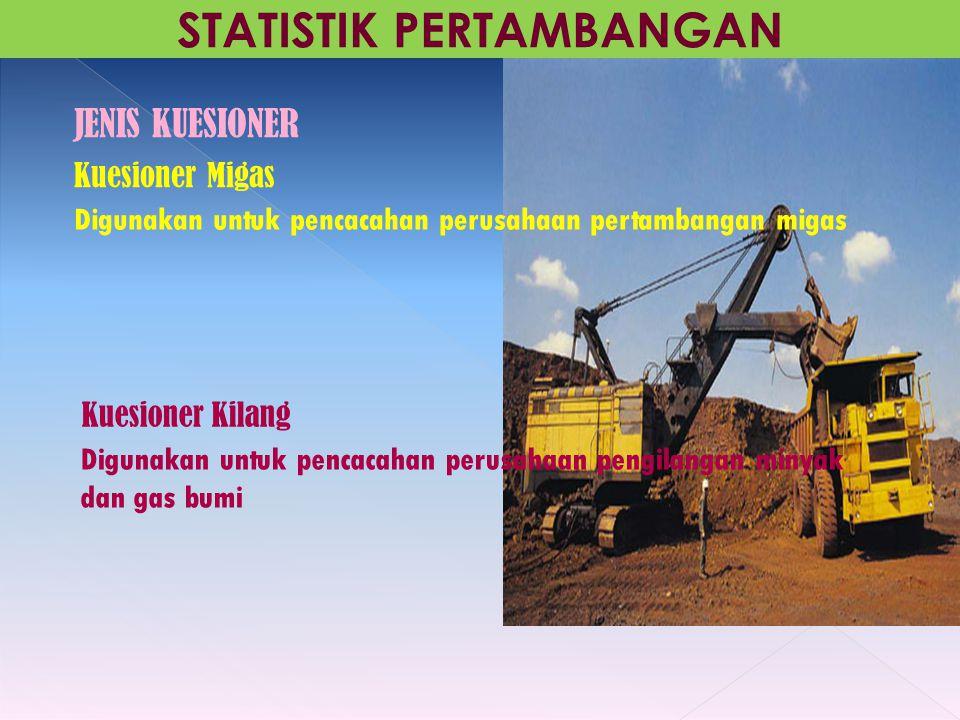 Kuesioner Migas Digunakan untuk pencacahan perusahaan pertambangan migas STATISTIK PERTAMBANGAN JENIS KUESIONER Digunakan untuk pencacahan perusahaan