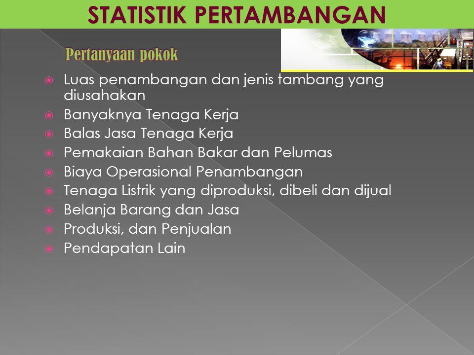  Luas penambangan dan jenis tambang yang diusahakan  Banyaknya Tenaga Kerja  Balas Jasa Tenaga Kerja  Pemakaian Bahan Bakar dan Pelumas  Biaya Op
