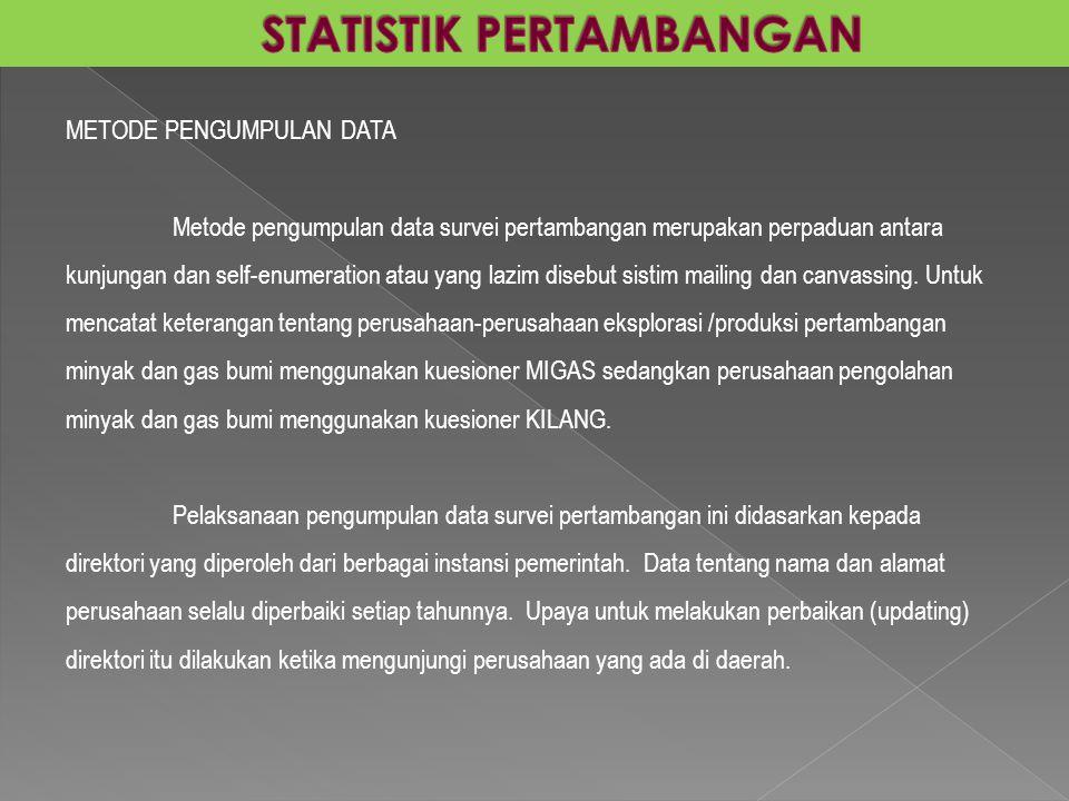 METODE PENGUMPULAN DATA Metode pengumpulan data survei pertambangan merupakan perpaduan antara kunjungan dan self-enumeration atau yang lazim disebut