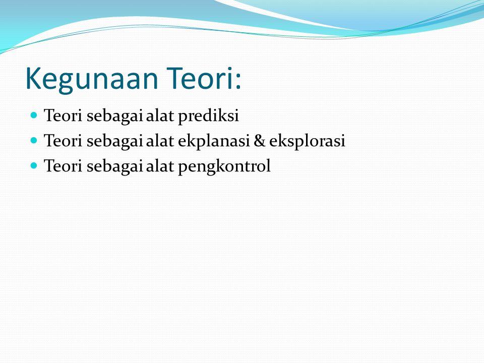 Kegunaan Teori: Teori sebagai alat prediksi Teori sebagai alat ekplanasi & eksplorasi Teori sebagai alat pengkontrol