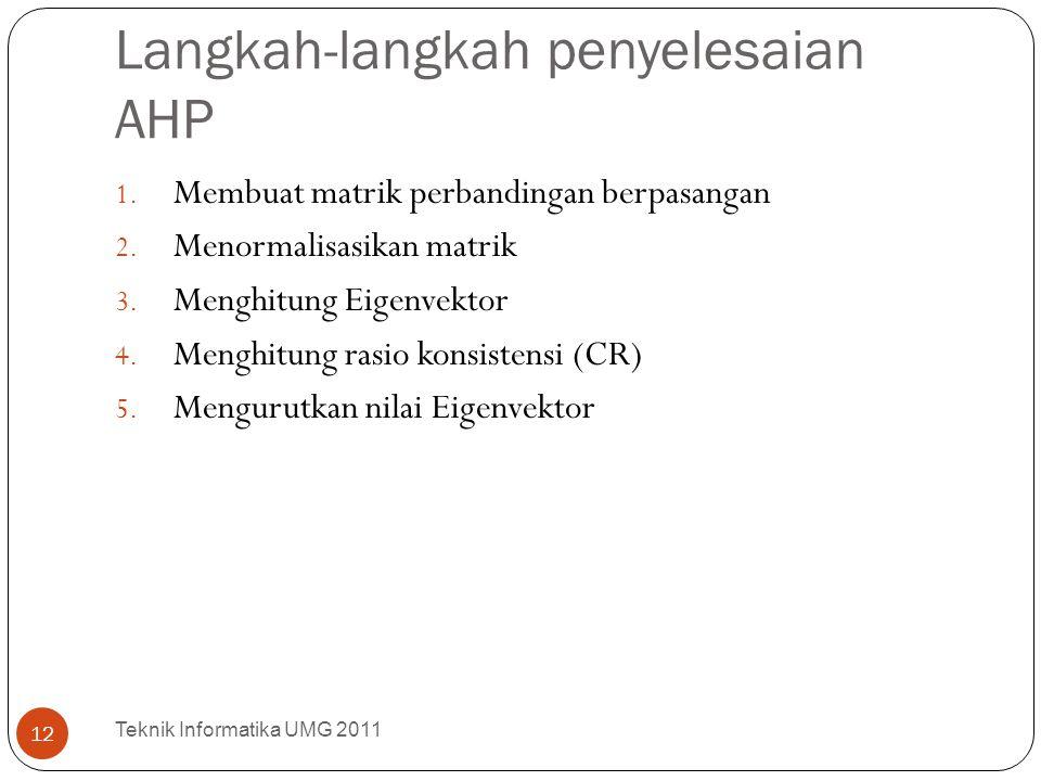 Langkah-langkah penyelesaian AHP 1. Membuat matrik perbandingan berpasangan 2. Menormalisasikan matrik 3. Menghitung Eigenvektor 4. Menghitung rasio k
