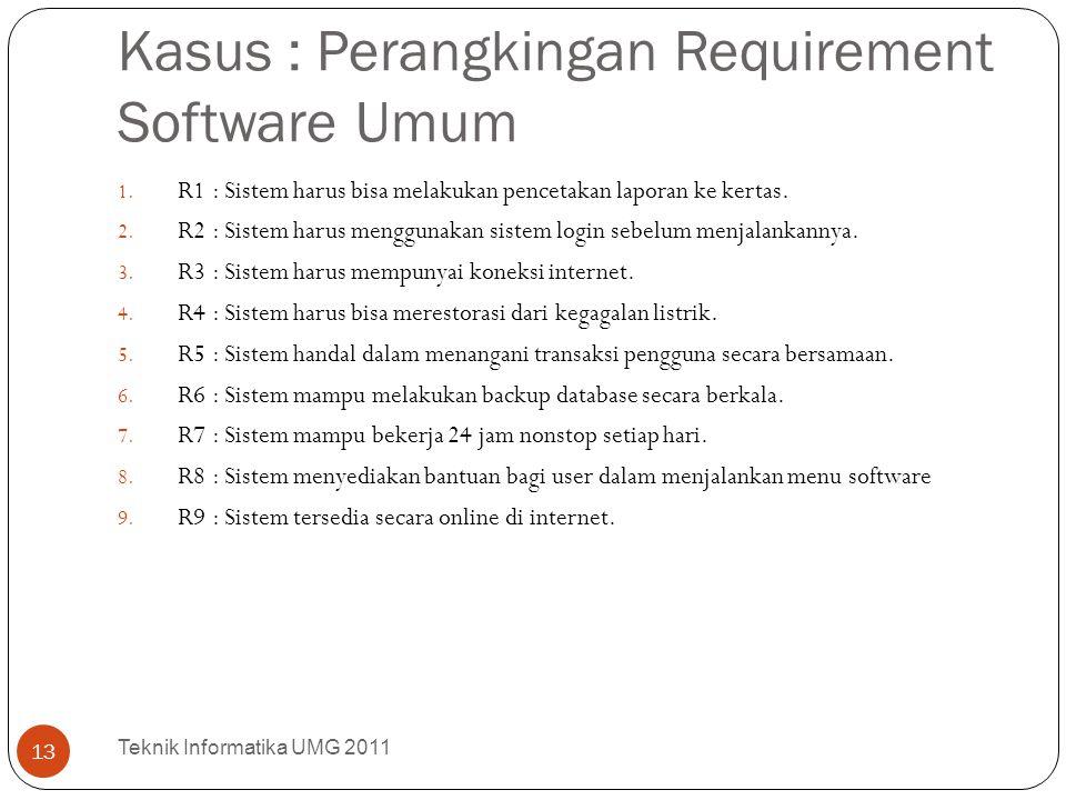 Kasus : Perangkingan Requirement Software Umum 1. R1 : Sistem harus bisa melakukan pencetakan laporan ke kertas. 2. R2 : Sistem harus menggunakan sist