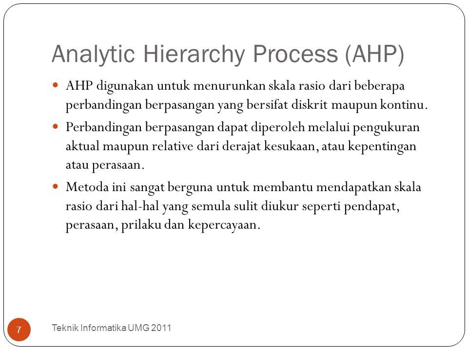 Analytic Hierarchy Process (AHP) AHP digunakan untuk menurunkan skala rasio dari beberapa perbandingan berpasangan yang bersifat diskrit maupun kontin