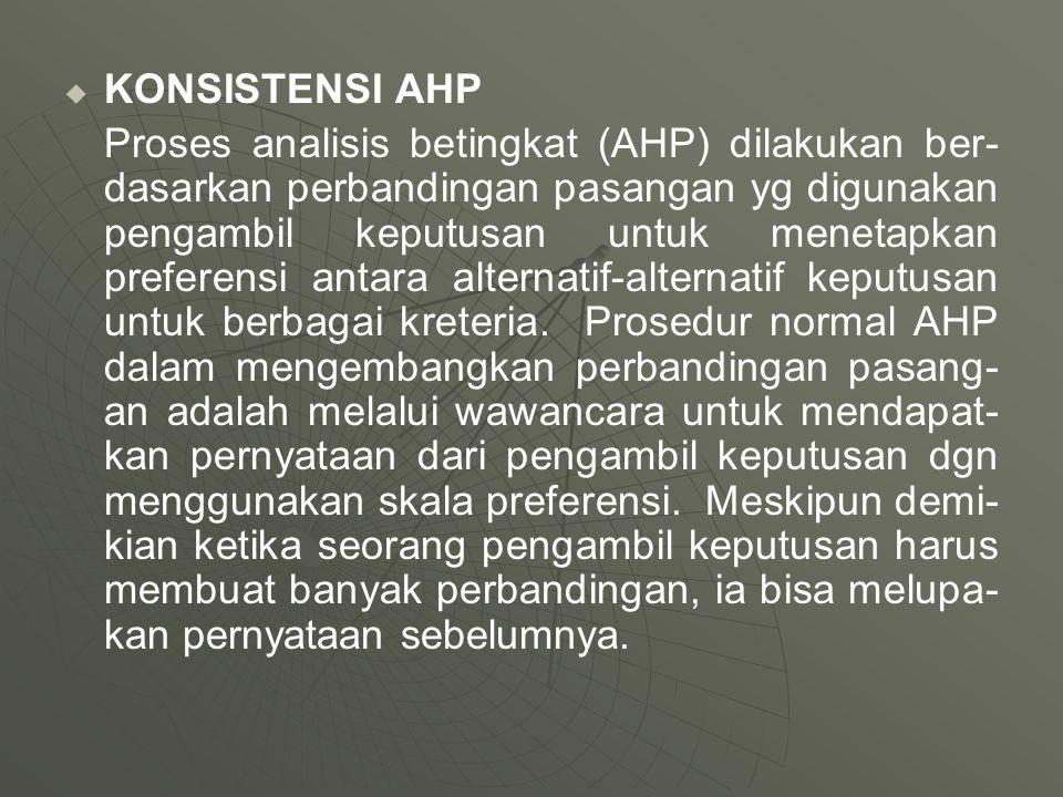   KONSISTENSI AHP Proses analisis betingkat (AHP) dilakukan ber- dasarkan perbandingan pasangan yg digunakan pengambil keputusan untuk menetapkan pr