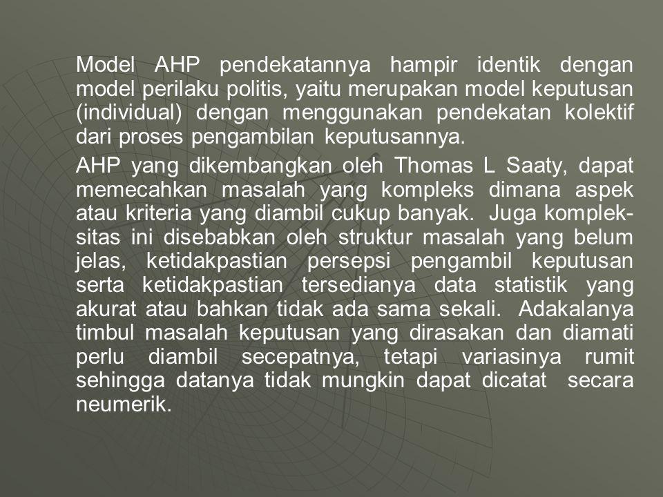 Model AHP pendekatannya hampir identik dengan model perilaku politis, yaitu merupakan model keputusan (individual) dengan menggunakan pendekatan kolek