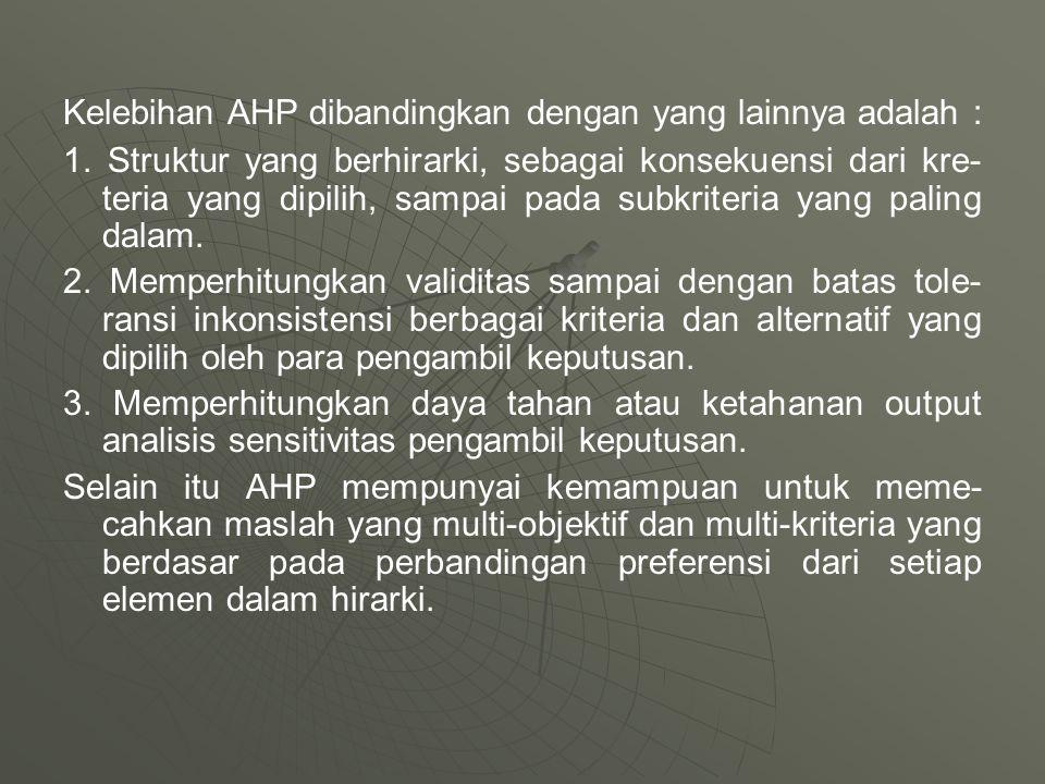 Kelebihan AHP dibandingkan dengan yang lainnya adalah : 1. Struktur yang berhirarki, sebagai konsekuensi dari kre- teria yang dipilih, sampai pada sub