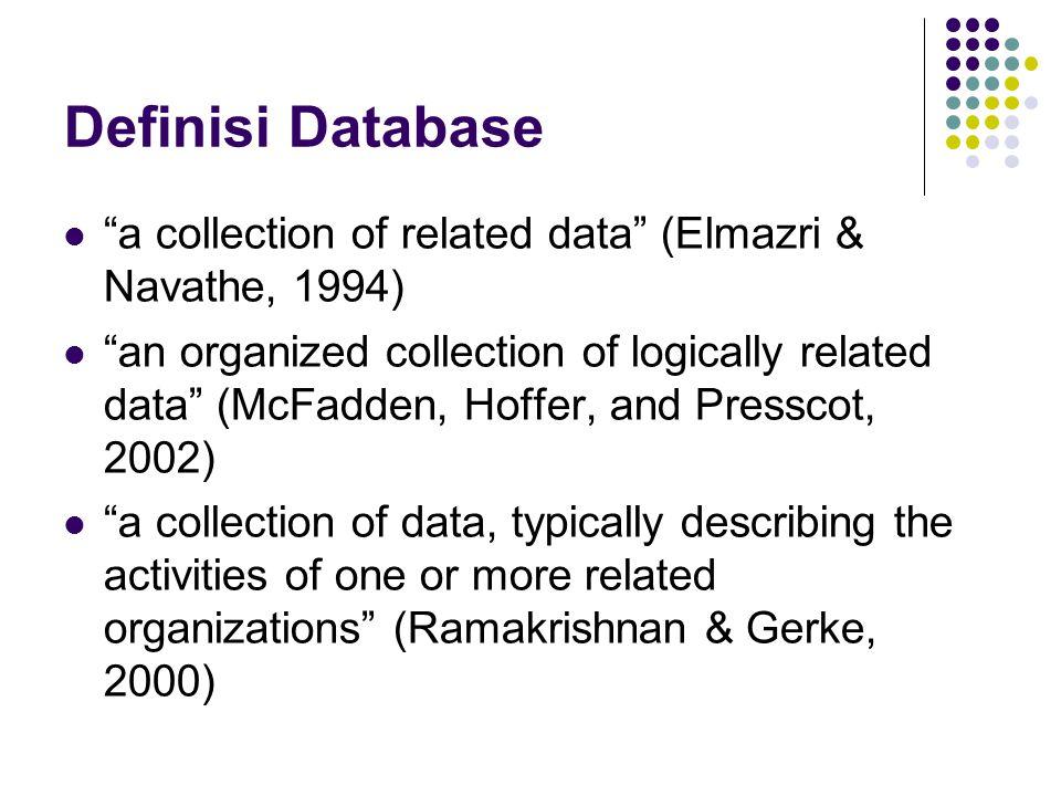 Defenisi Database Sekumpulan data store(bisa dalam jumlah besar) yang tersimpan dalam magnetic disk, optical disk, dan media penyimpan sekunder lainnya.