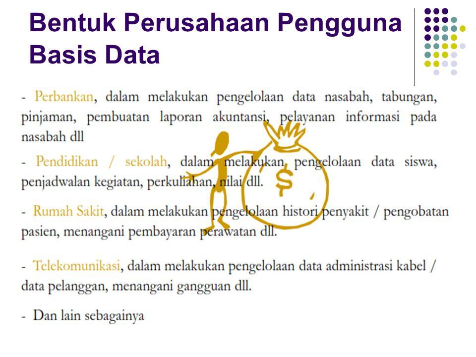 Bentuk Perusahaan Pengguna Basis Data