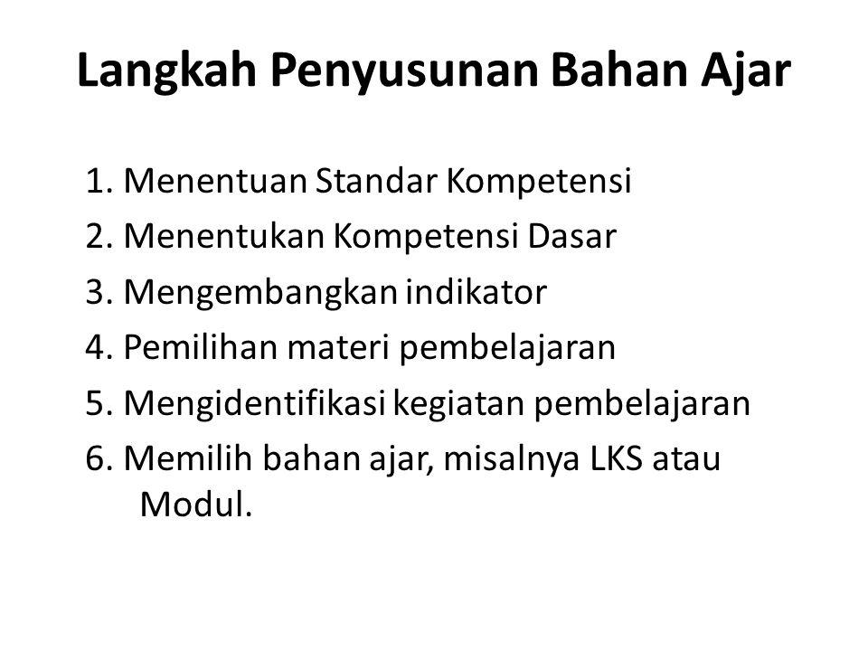 Langkah Penyusunan Bahan Ajar 1. Menentuan Standar Kompetensi 2. Menentukan Kompetensi Dasar 3. Mengembangkan indikator 4. Pemilihan materi pembelajar