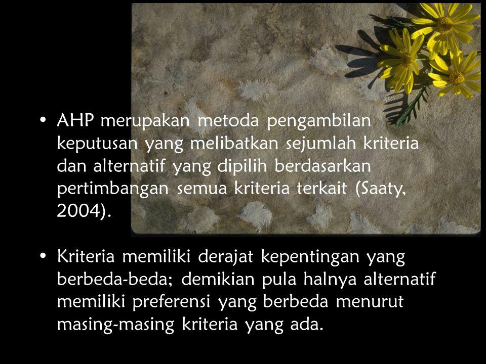 Analytical Hierarchy Process AHP dikembangkan oleh Prof.