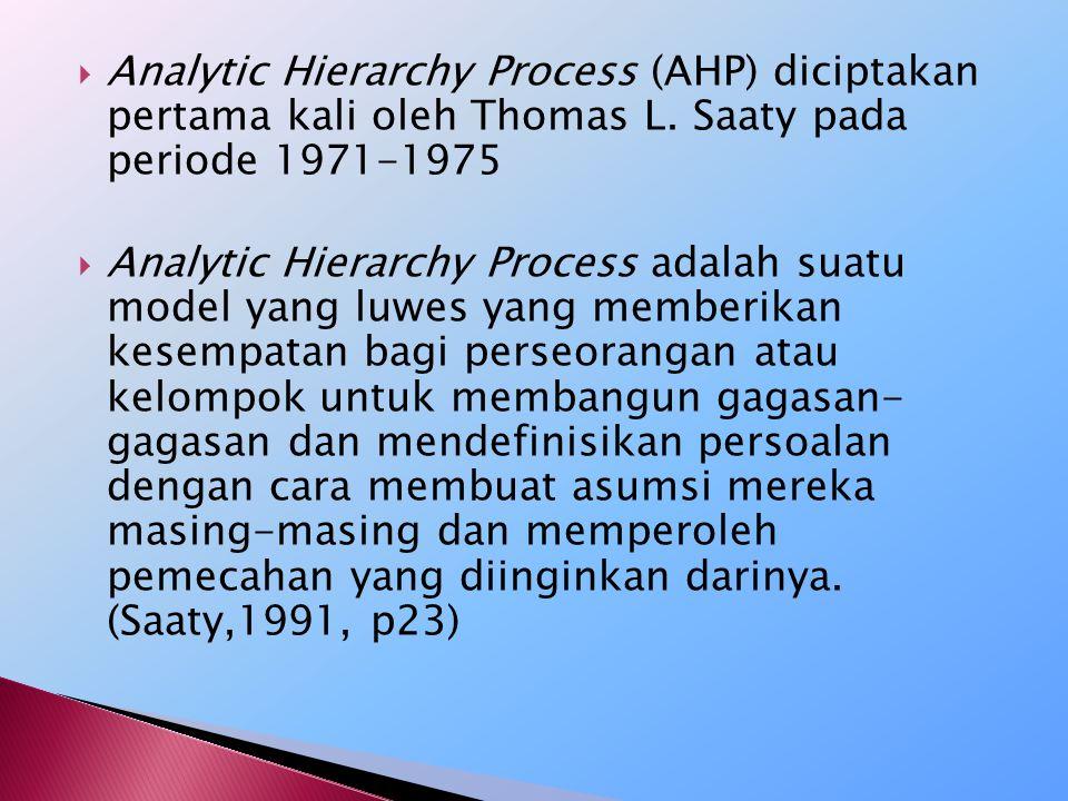 Kelebihan AHP Dibandingkan Dengan Yang Lainnya:  Struktur yang berhirarki, sebagai konsekuensi dari kriteria yang dipilih, sampai pada subkriteria yang paling dalam.