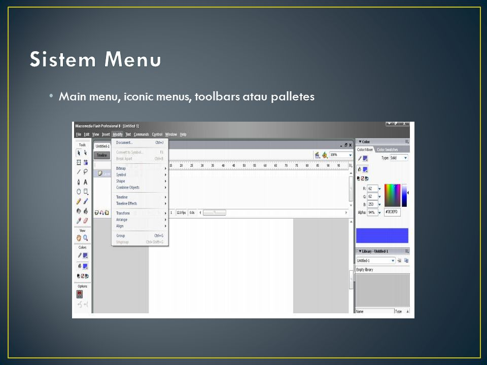 Main menu, iconic menus, toolbars atau palletes