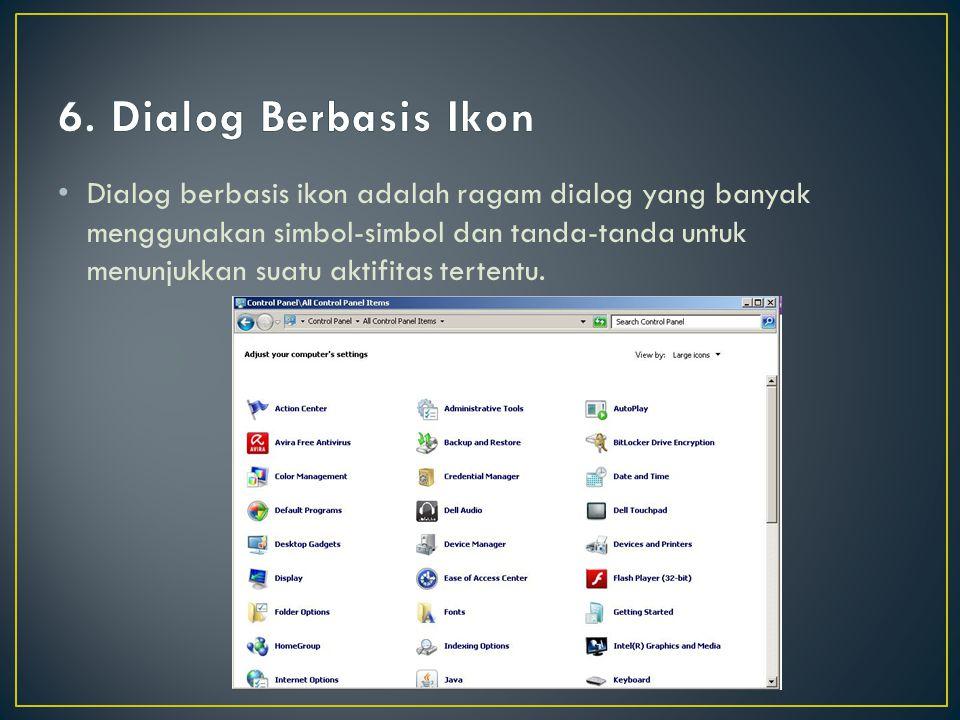 Dialog berbasis ikon adalah ragam dialog yang banyak menggunakan simbol-simbol dan tanda-tanda untuk menunjukkan suatu aktifitas tertentu.