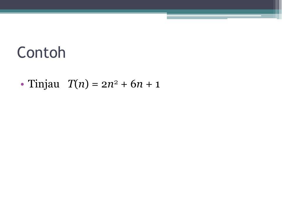 Contoh Tinjau T(n) = 2n 2 + 6n + 1