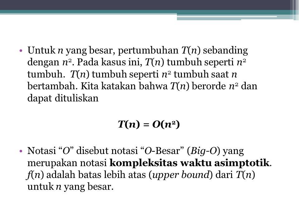 Untuk n yang besar, pertumbuhan T(n) sebanding dengan n 2.
