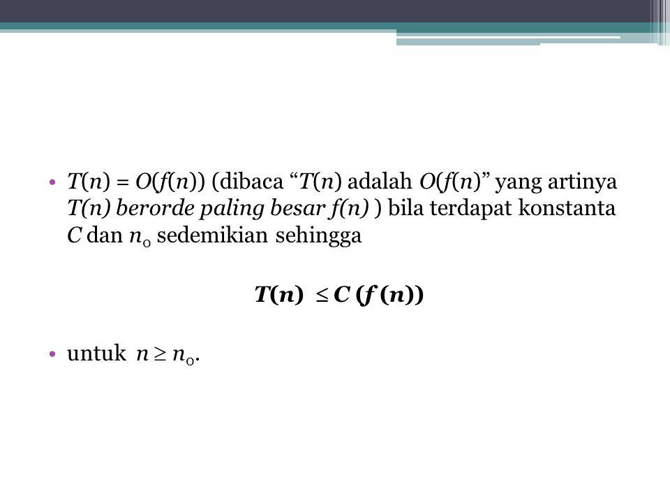 T(n) = O(f(n)) (dibaca T(n) adalah O(f(n) yang artinya T(n) berorde paling besar f(n) ) bila terdapat konstanta C dan n 0 sedemikian sehingga T(n)  C (f (n)) untuk n  n 0.