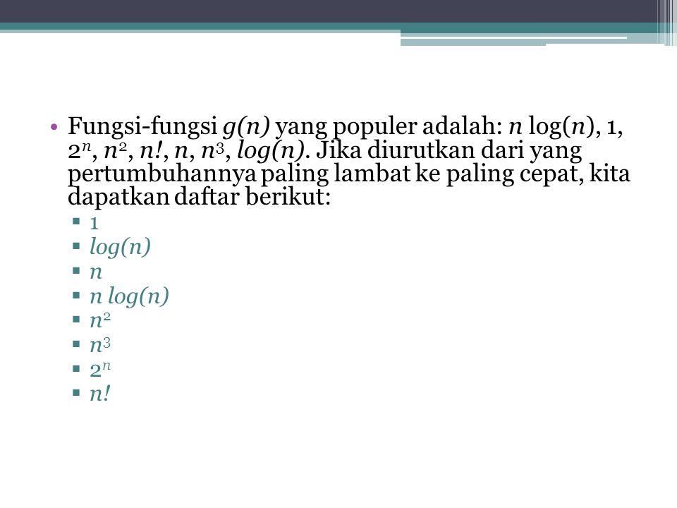 Fungsi-fungsi g(n) yang populer adalah: n log(n), 1, 2 n, n 2, n!, n, n 3, log(n).