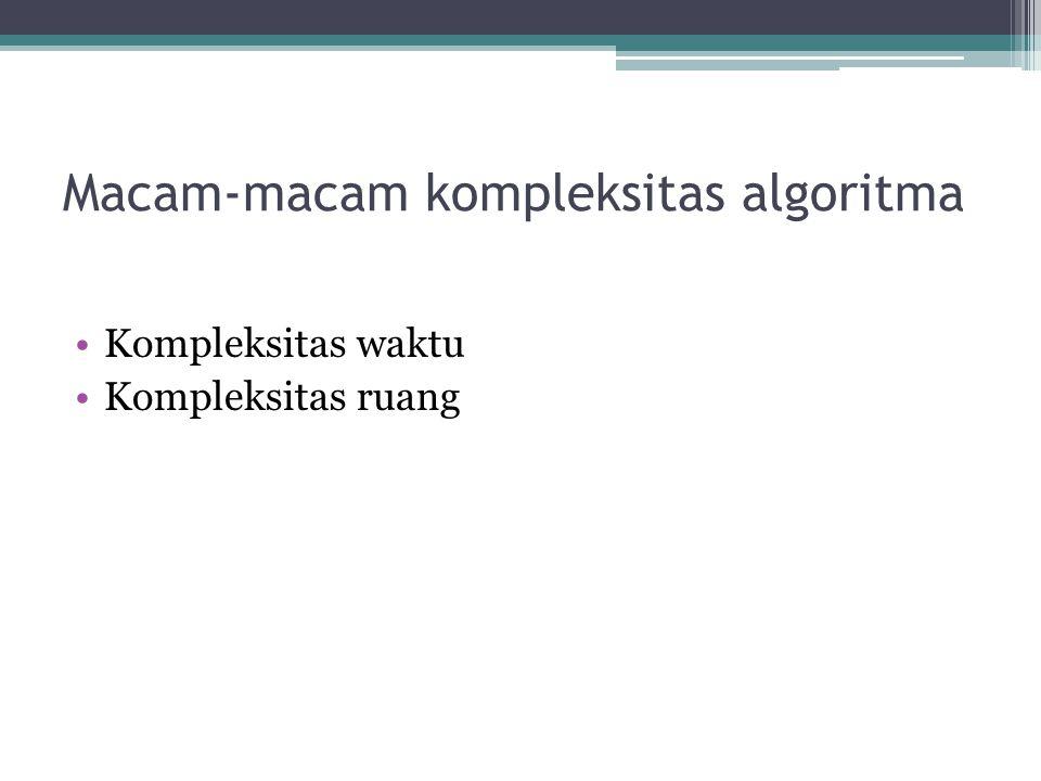 Macam-macam kompleksitas algoritma Kompleksitas waktu Kompleksitas ruang