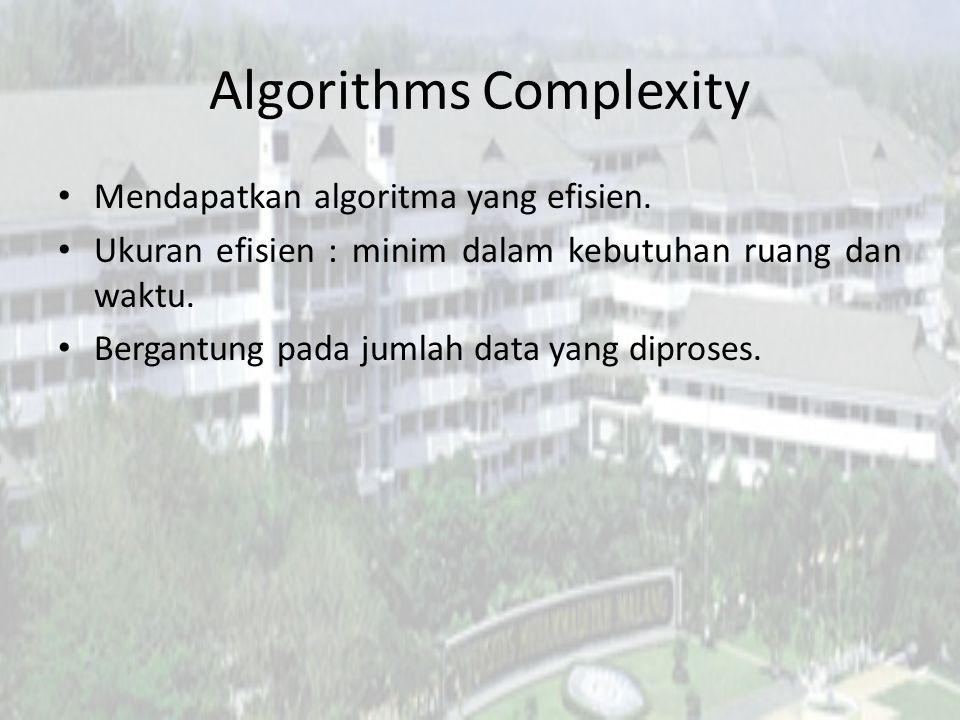 Algoritma (1) Komplekasitas waktu T(n) = n-1 Void Cari_maksimum(int n, int A[]) { int maks = A[0]; for(int i=1;i<n;i++) { if(A[i]>maks) maks = A[i]; }