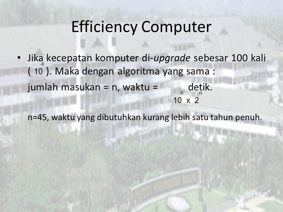 Efficiency Algorithms Misal ada algoritma baru yang dapat menyelesaikan masalah tsb dalam orde kubik ( ) Dengan menggunakan komputer pertama waktu yang dibutuhkan detik.
