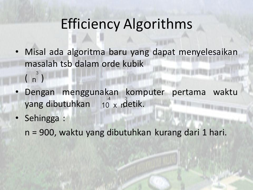 Efficiency Algorithms Dengan komputer pertama berapa besar masukan yang dapat diproses selama satu tahun?...